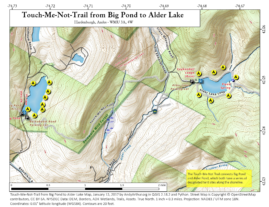 Map: Touch Me Not Trail From Big Pond To Alder Lake
