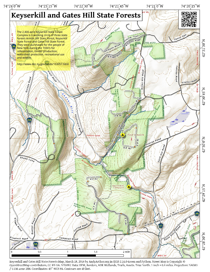 Map: Keyserkill And Gates Hill State Forests