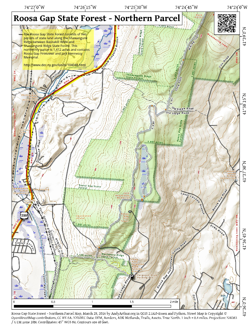 Map: Roosa Gap State Forest – Northern Parcel