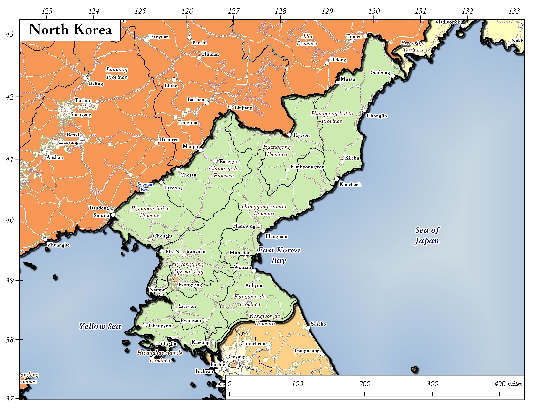 Map: North Korea