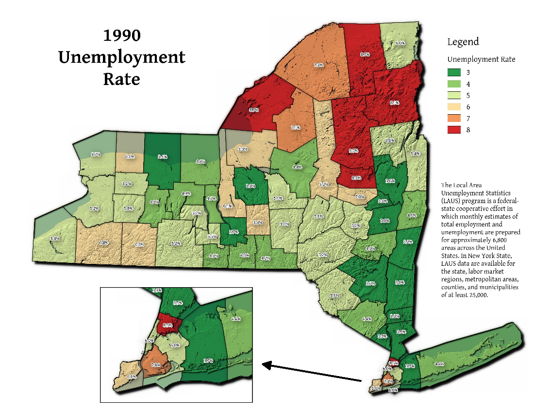 Map: 1990 Unemployment Rate