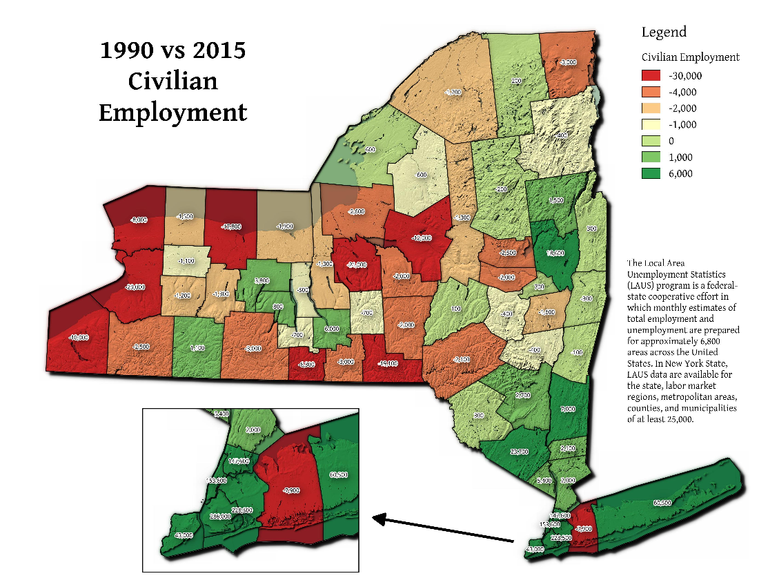 Map: 1990 vs. 2015 Civilian Employment