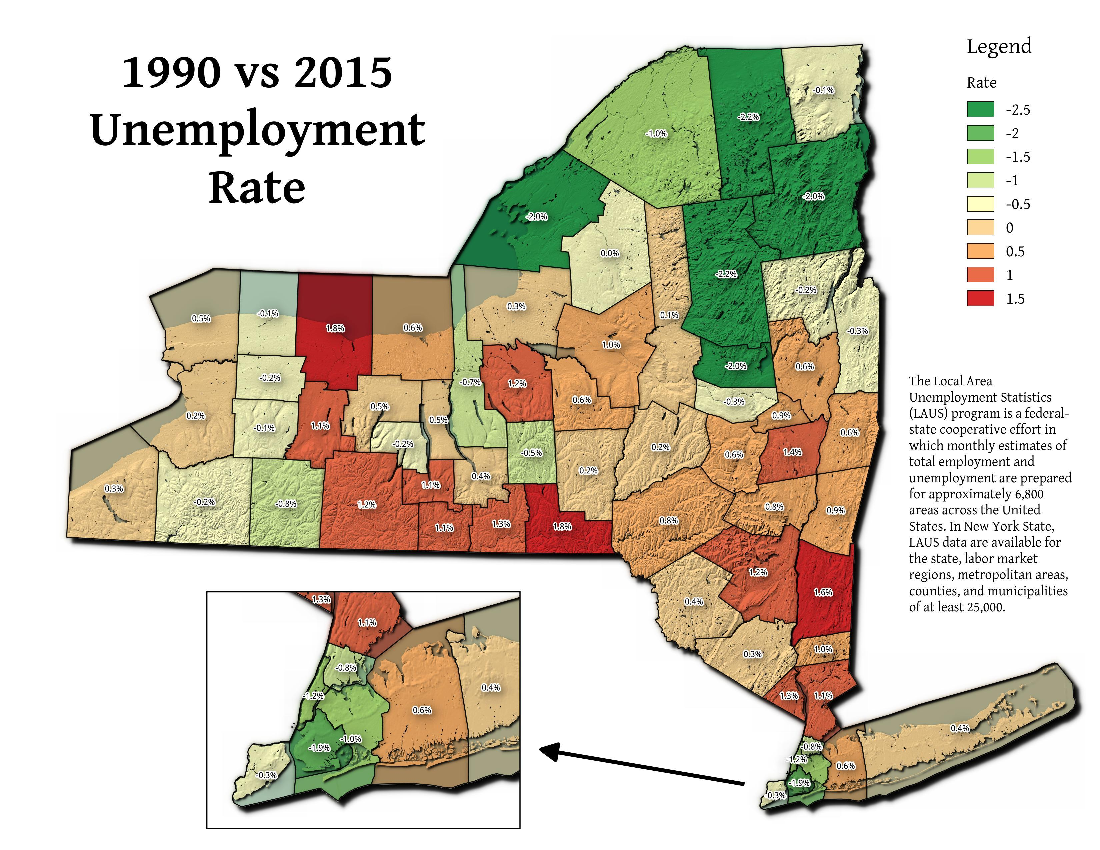 Map: 1990 vs 2015 Unemployment Rate