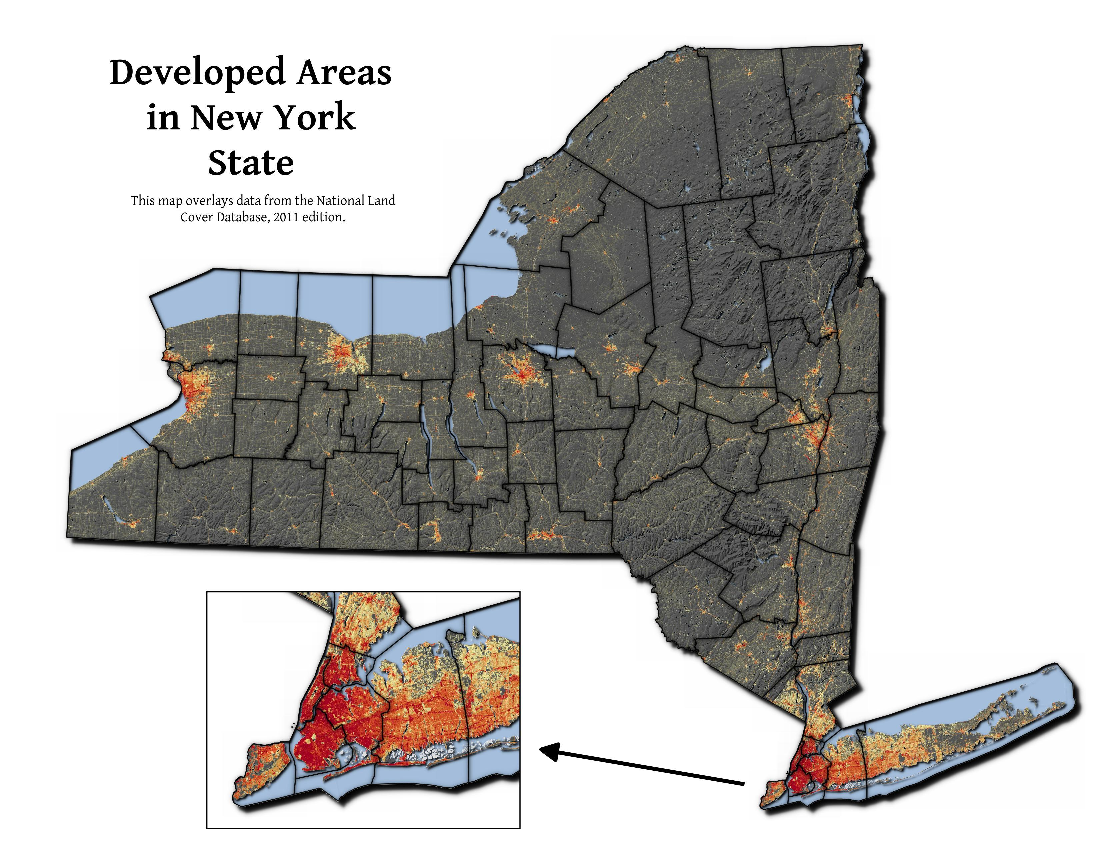 Map: Developed Areas In New York State