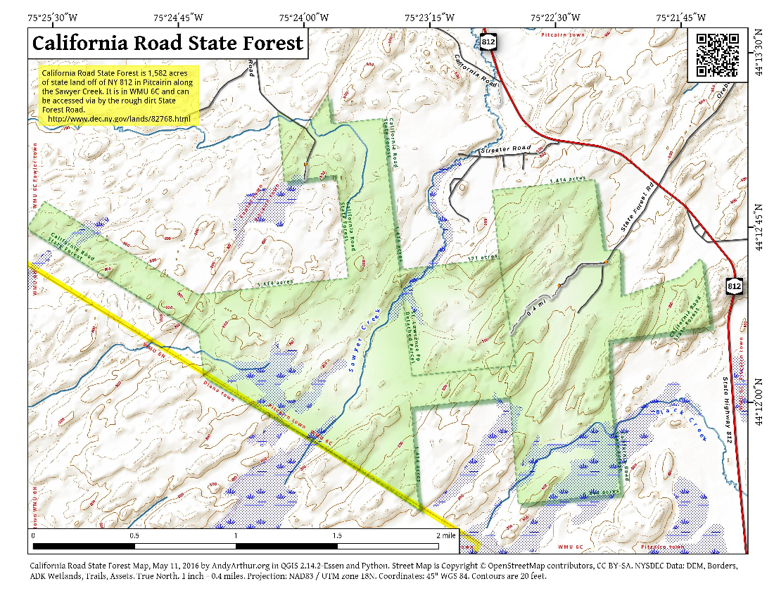 Map: California Road State Forest