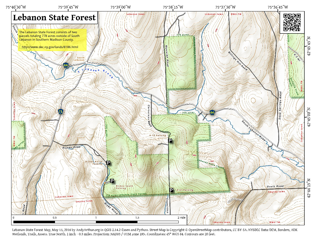 Map: Lebanon State Forest