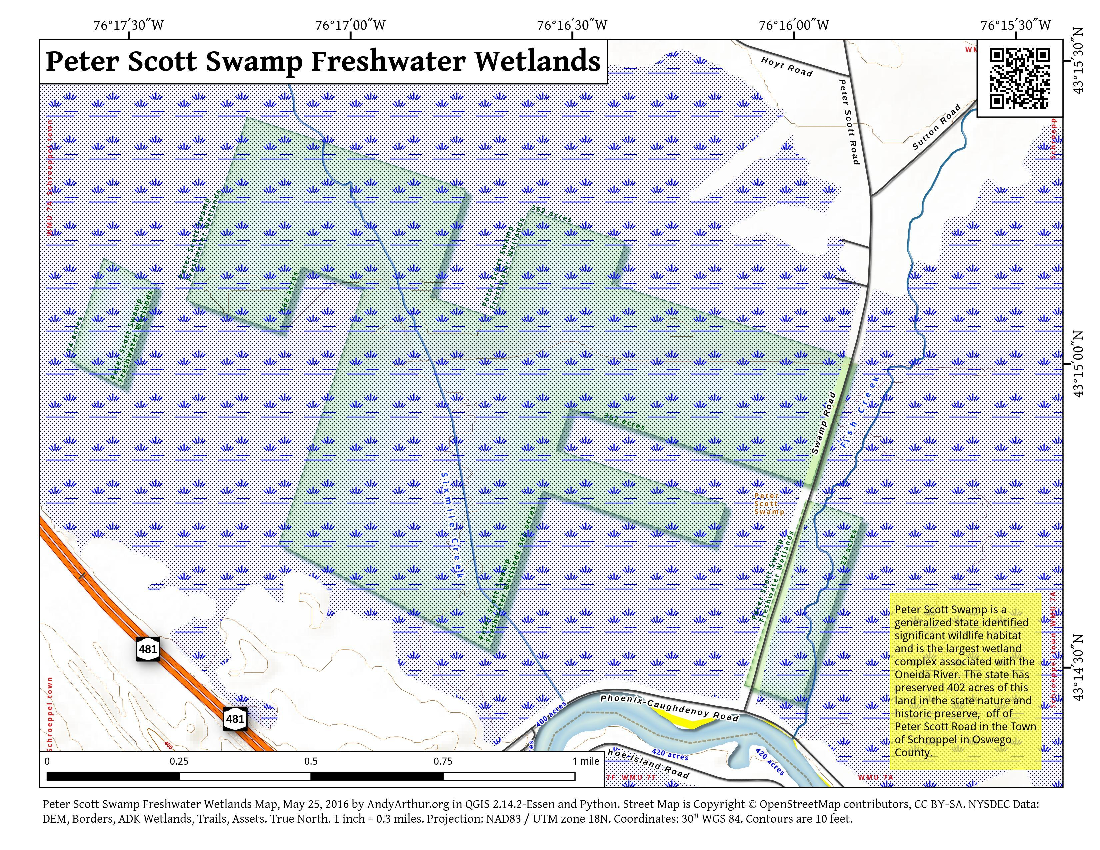 New york oswego county parish - Map Peter Scott Swamp Freshwater Wetlands