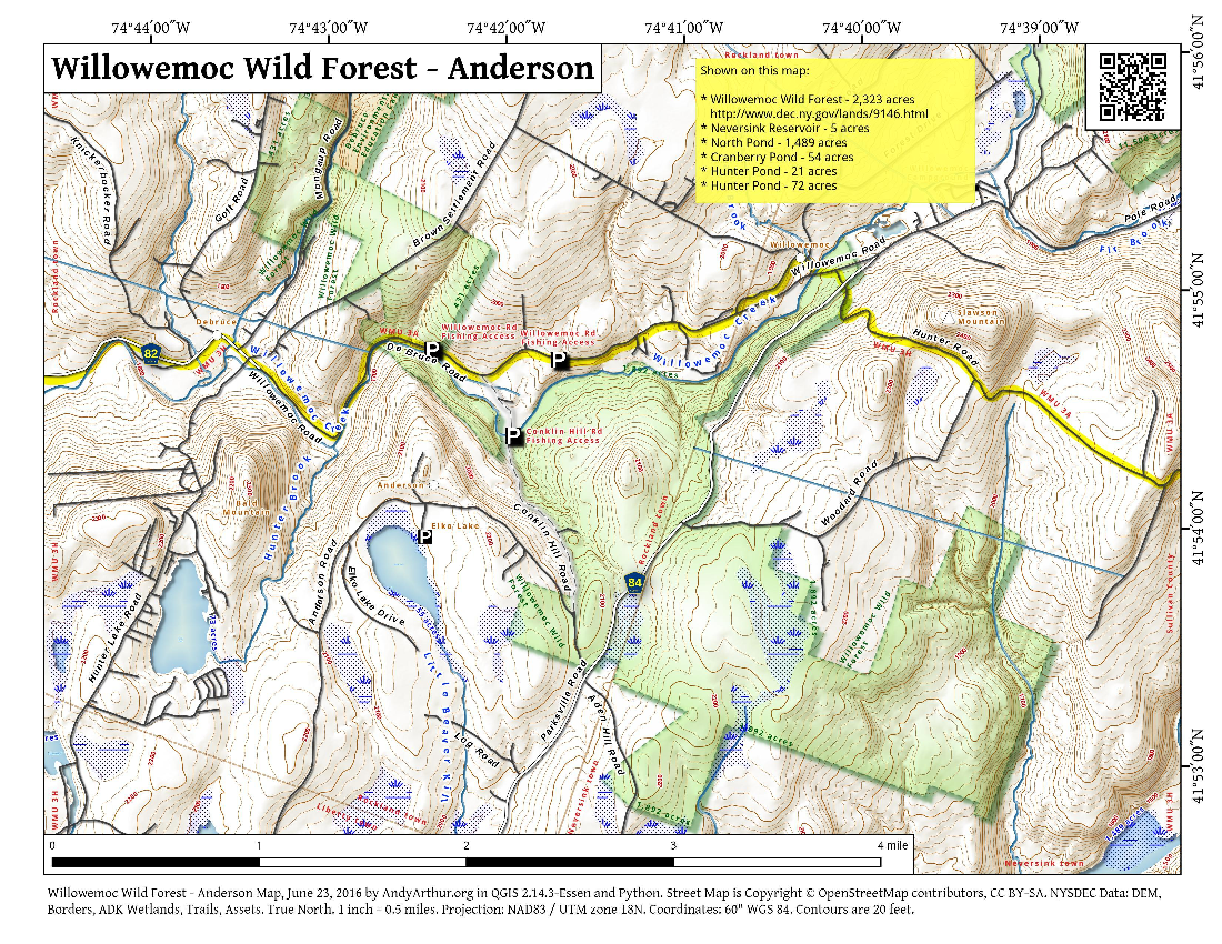 Map: Willowemoc Wild Forest – Anderson area