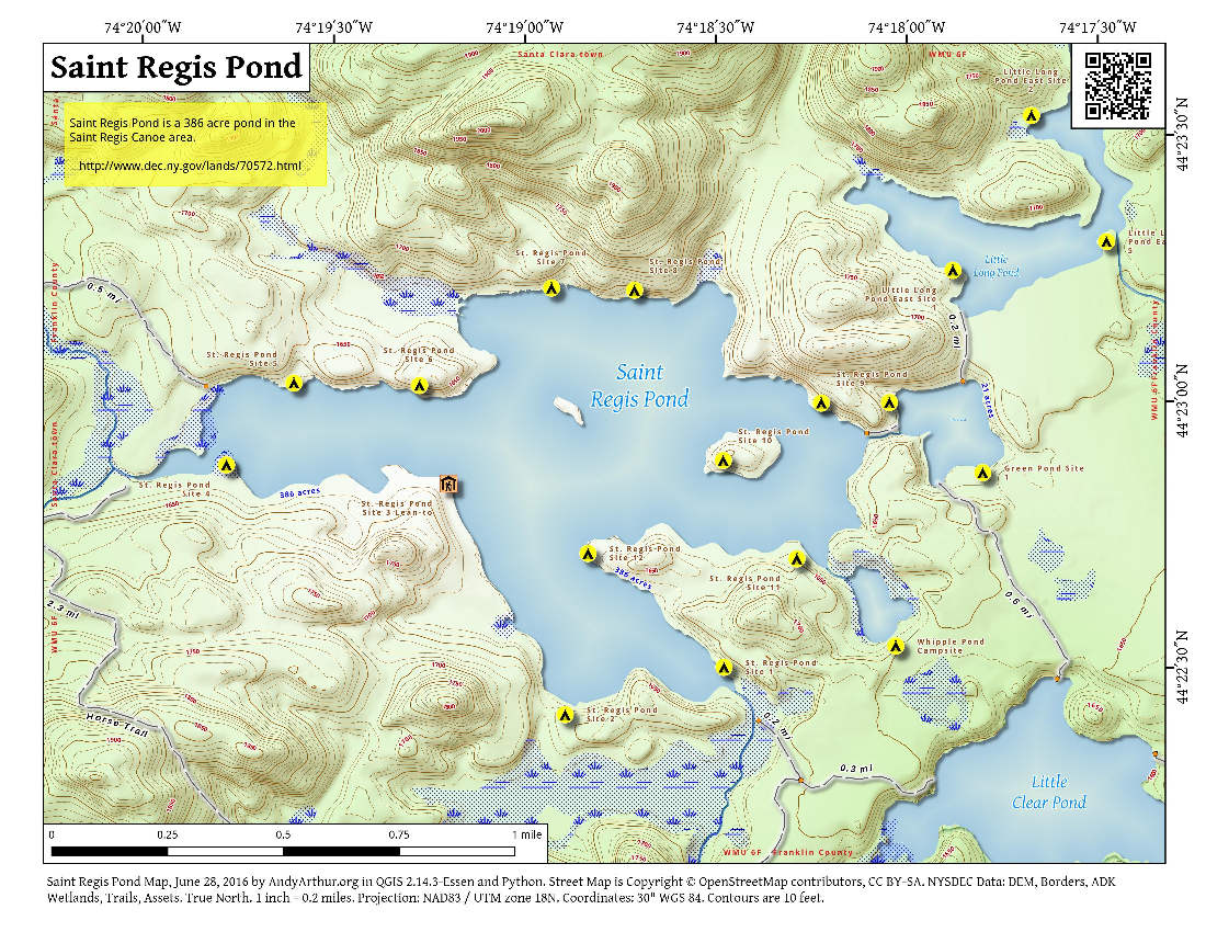 Map: Saint Regis Pond