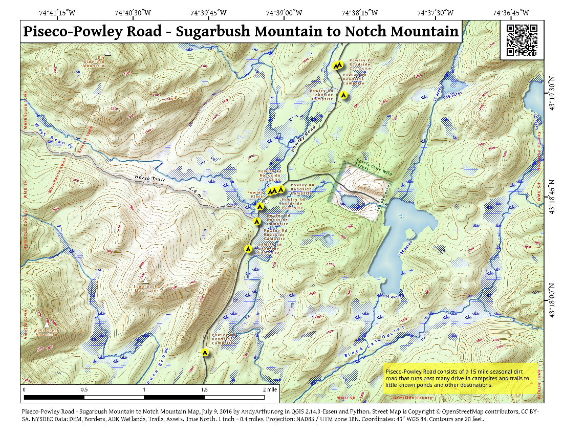 Map: Piseco-Powley Road – Sugarbush Mountain to Notch Mountain