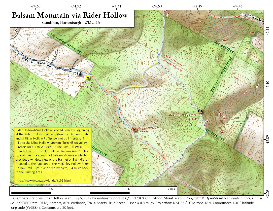 Map: Balsam Mountain Via Rider Hollow