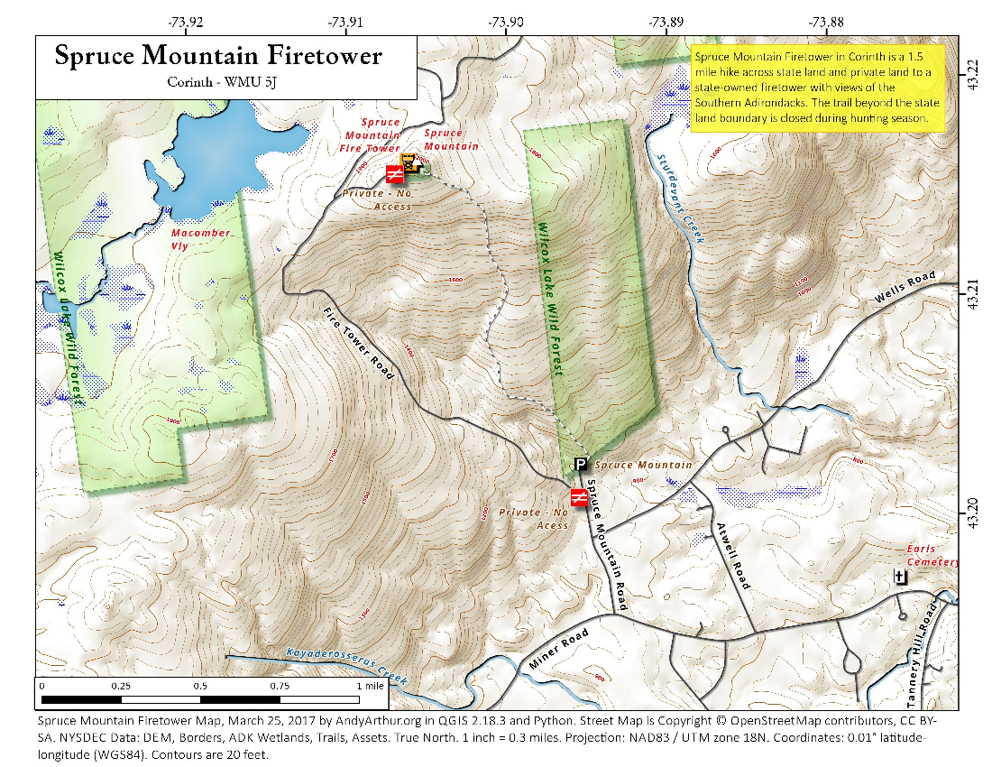 Map: Spruce Mountain Firetower