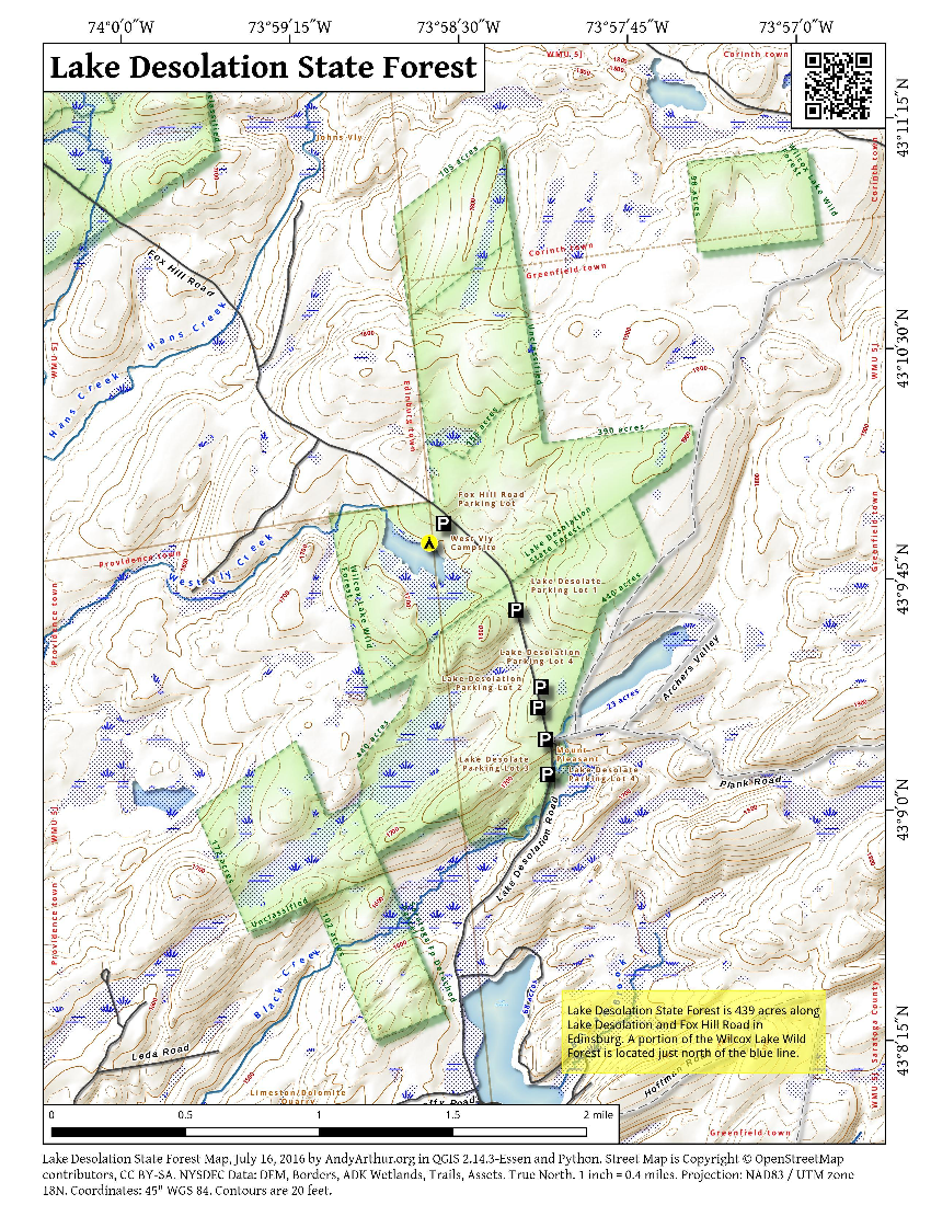 Map: Lake Desolation State Forest