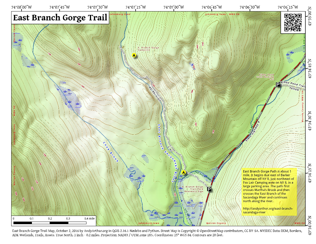 Map: East Branch Gorge Trail