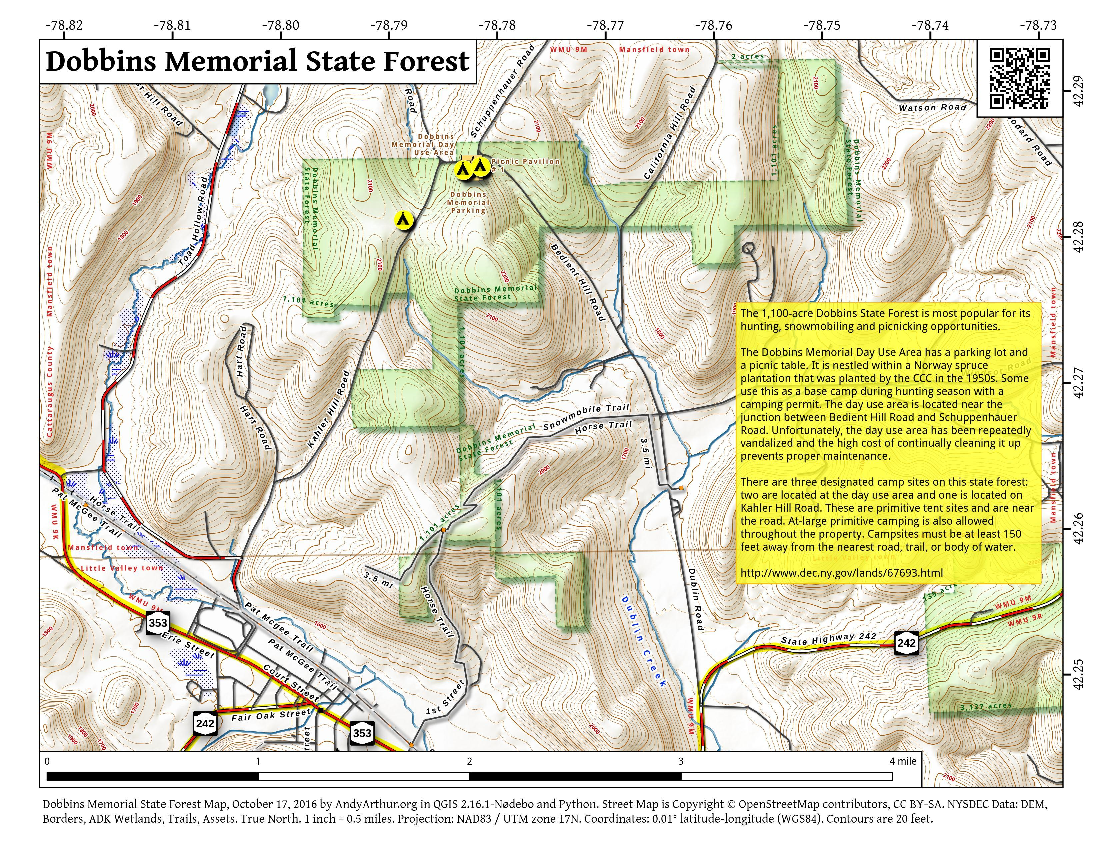 Map: Dobbins Memorial State Forest