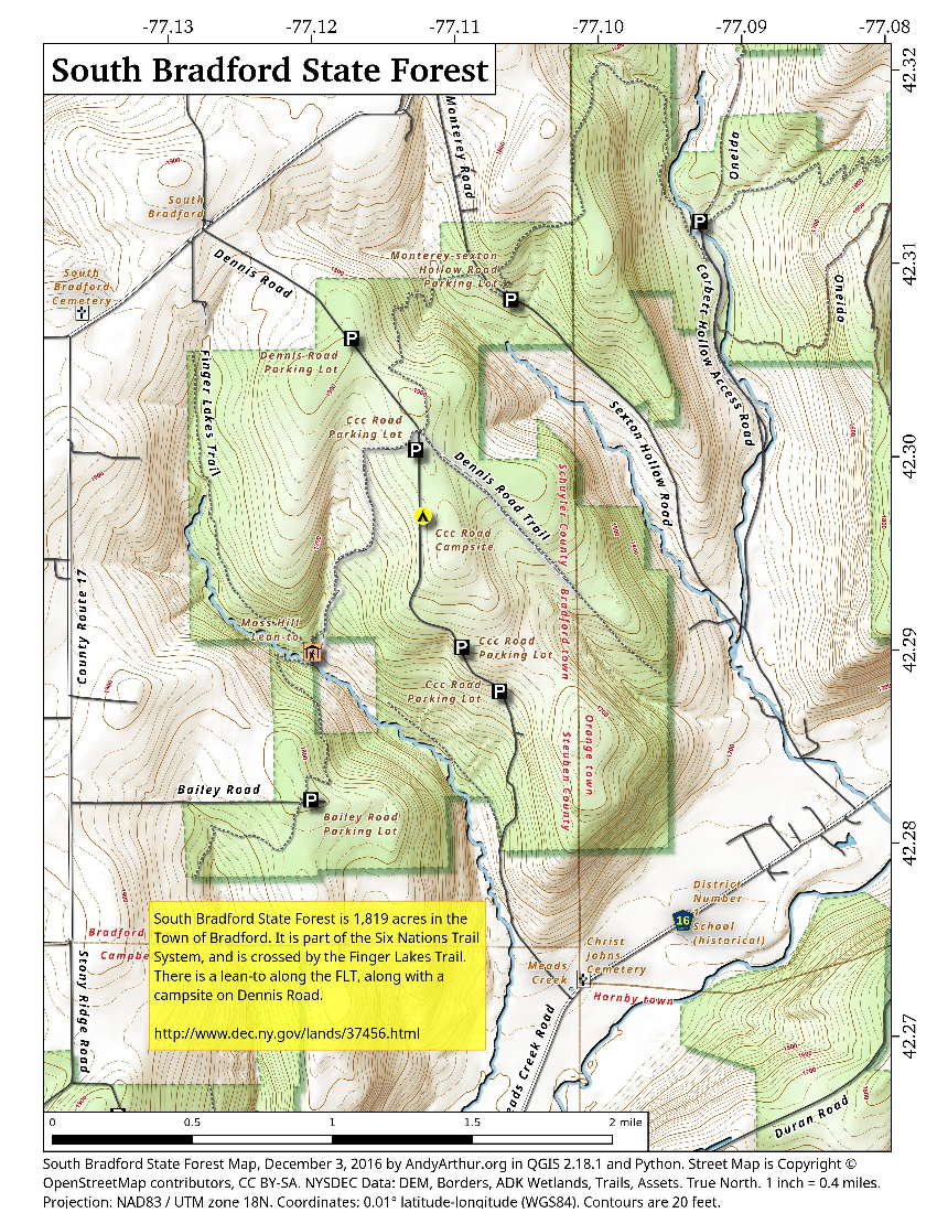 Map: South Bradford State Forest