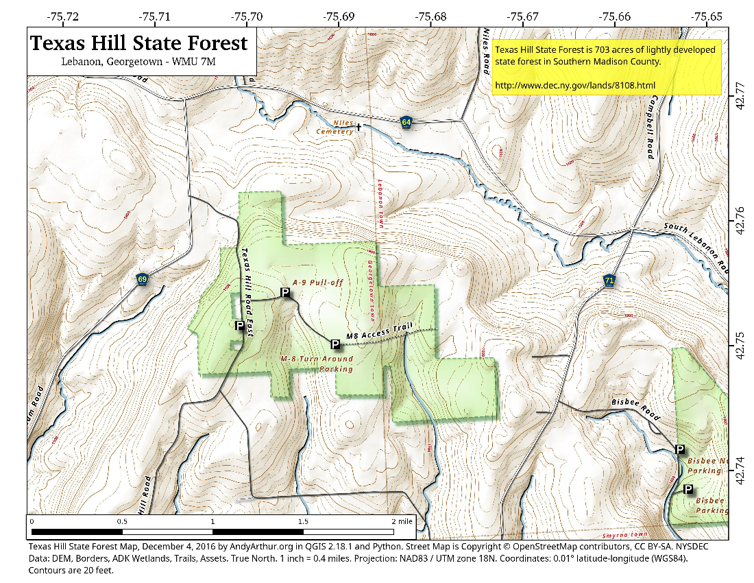 Map: Texas Hill State Forest