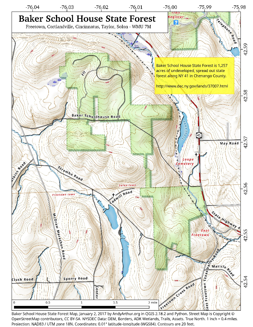 Map: Baker School House State Forest