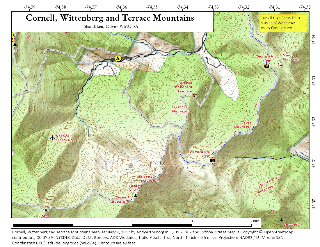 Map: Cornell, Wittenberg And Terrace Mountains