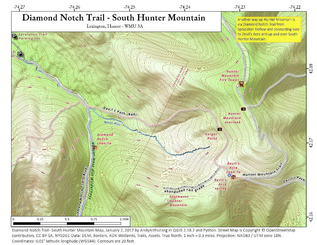 Map: Diamond Notch Trail – South Hunter Mountain