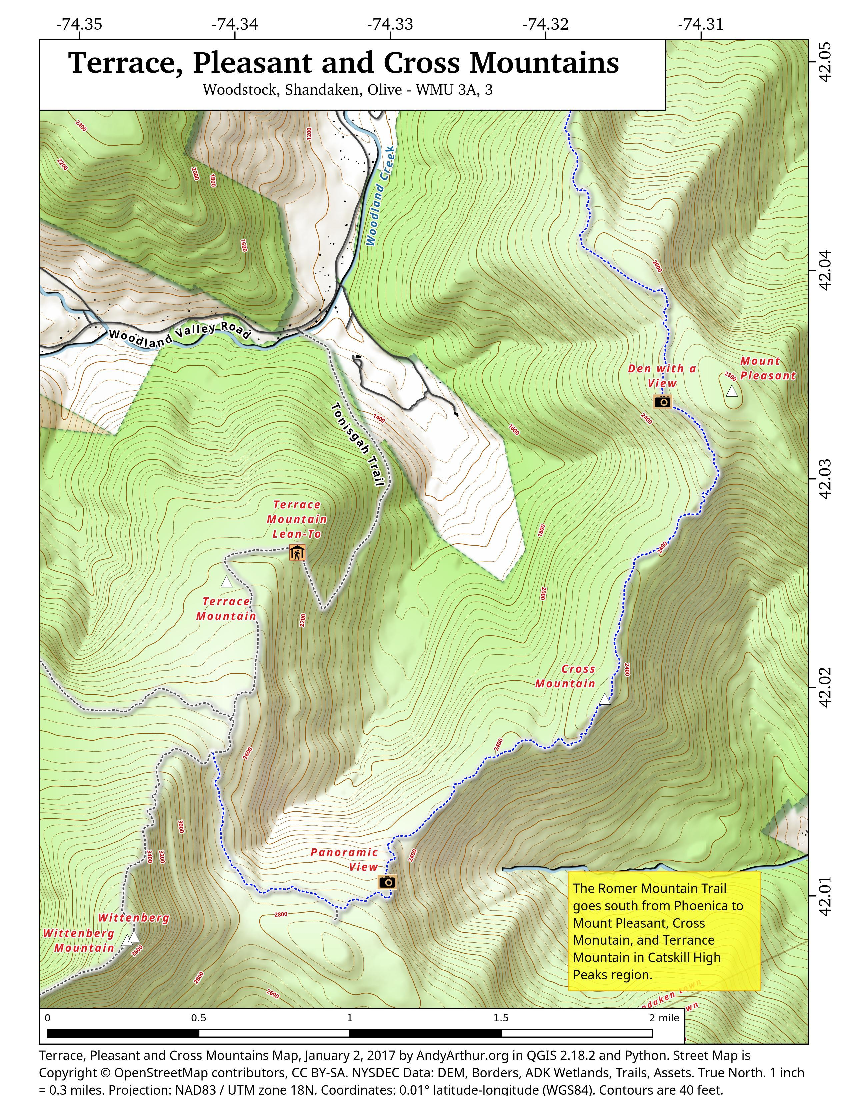 Map: Terrace, Pleasant And Cross Mountains