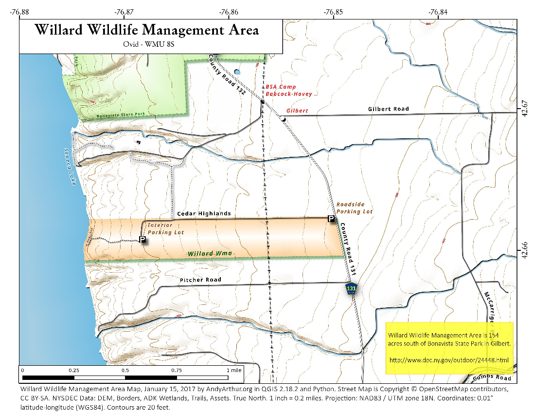 Map: Willard Wildlife Management Area