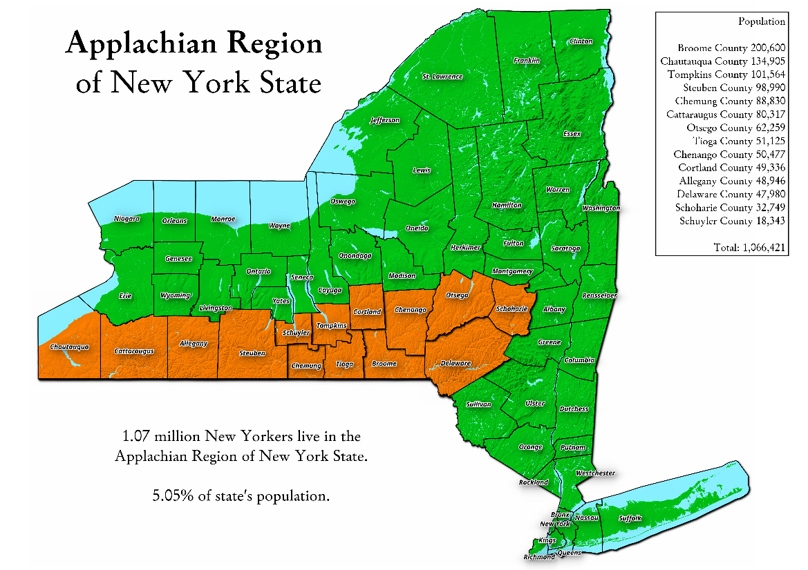 Map: Applachian Region Of New York State
