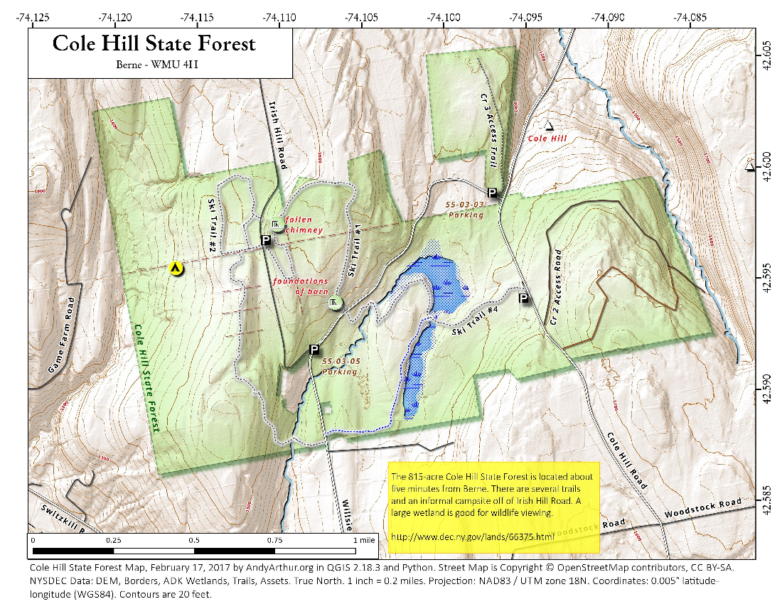 Map: Cole Hill State Forest