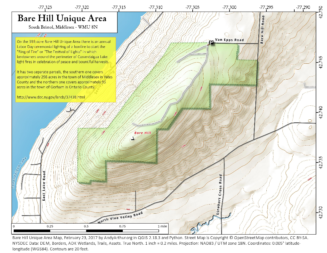 Map: Bare Hill Unique Area