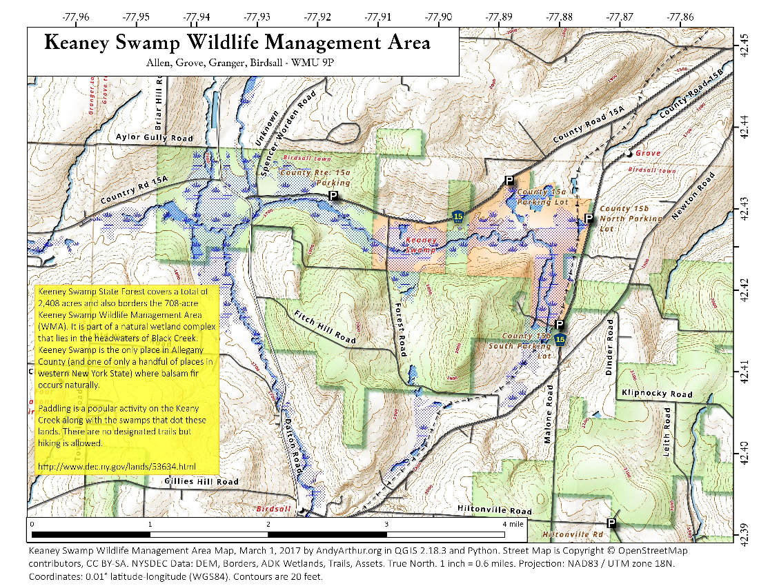 Map: Keaney Swamp Wildlife Management Area