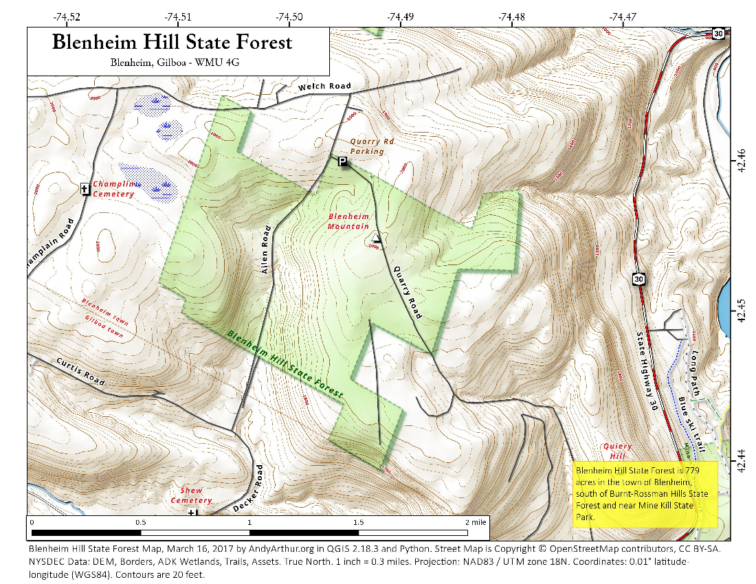 Map: Blenheim Hill State Forest