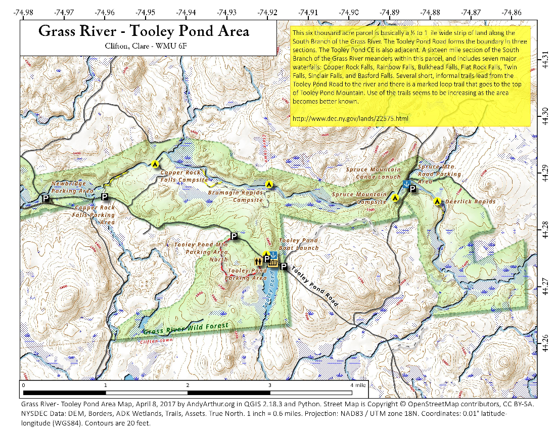 Map: Grass River – Tooley Pond Area