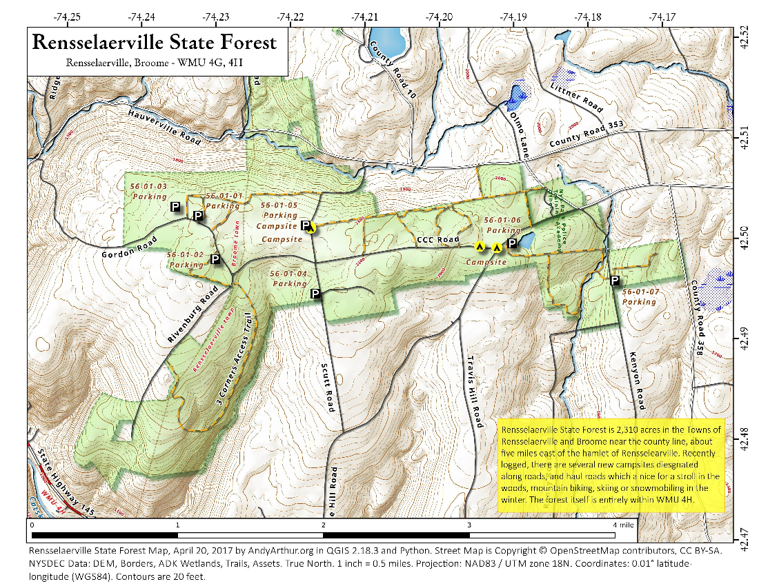 Map: Rensselaerville State Forest
