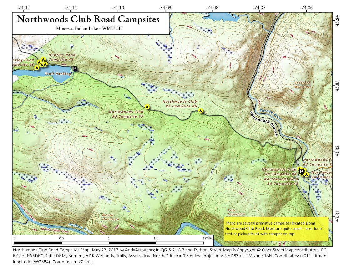 Map: Northwoods Club Road Campsites