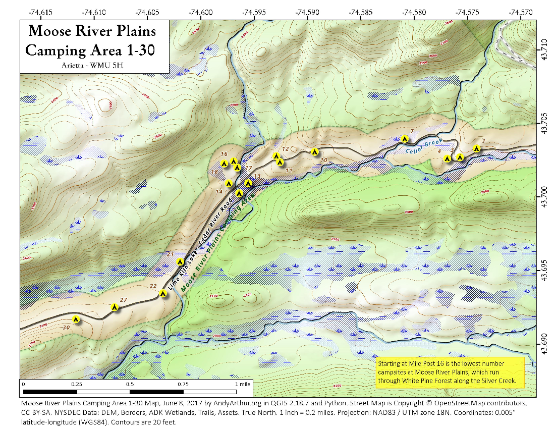 Map: Moose River Plains Camping Area 1-30