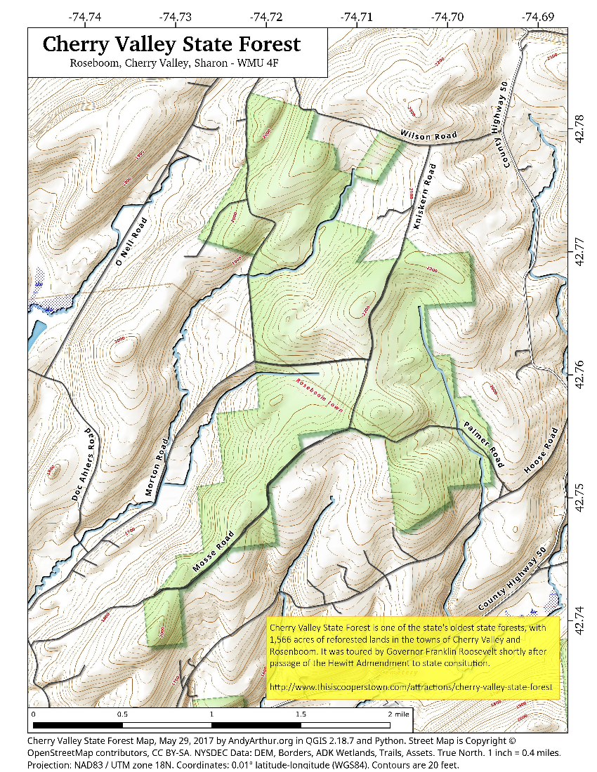 Map: Cherry Valley State Forest