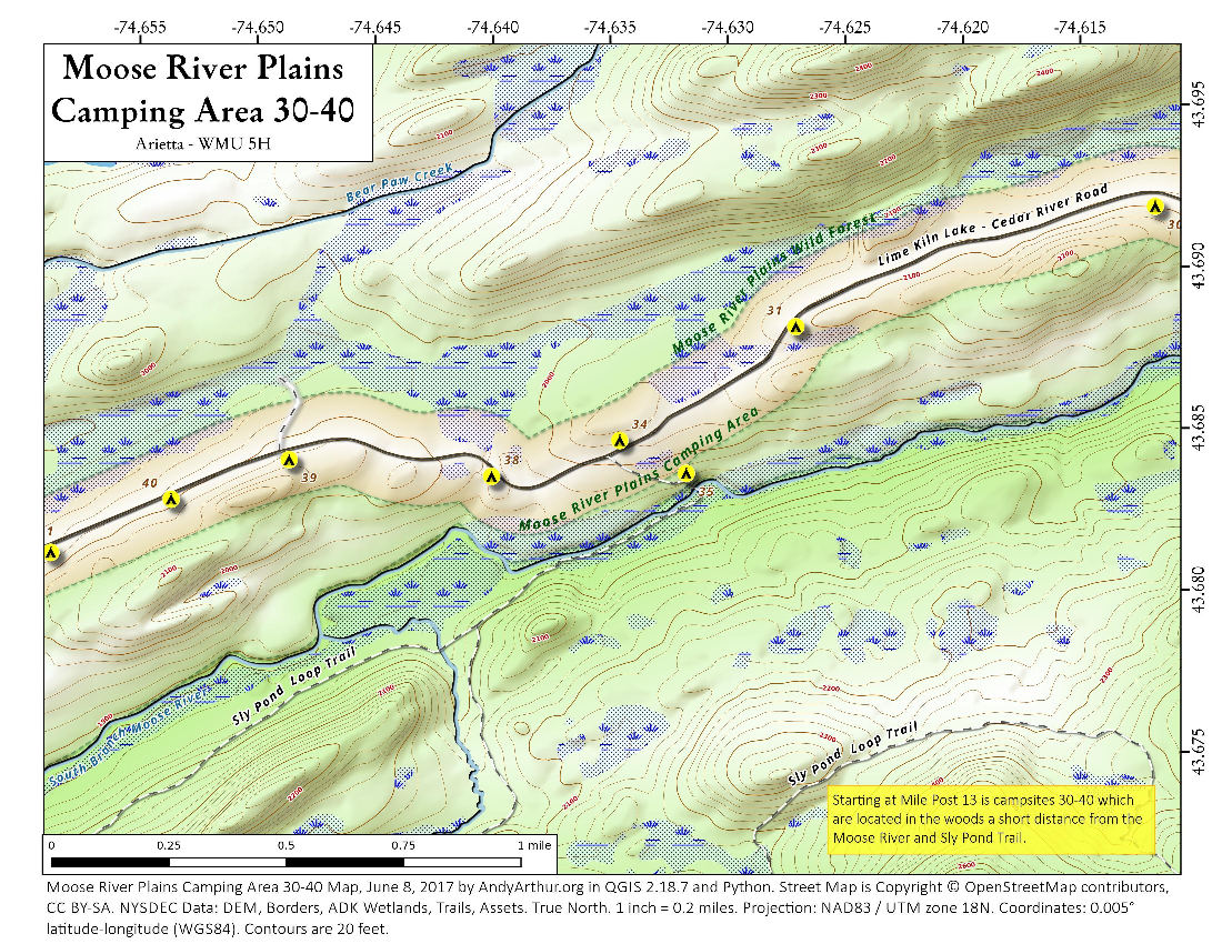 Map: Moose River Plains Camping Area 30-40