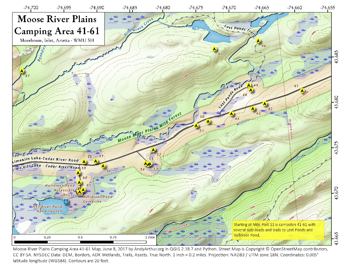 Map: Moose River Plains Camping Area 41-61