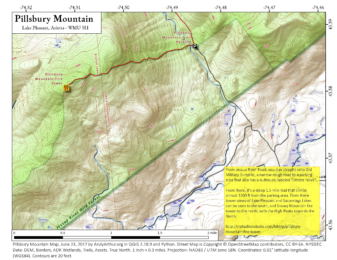 Map: Pillsbury Mountain