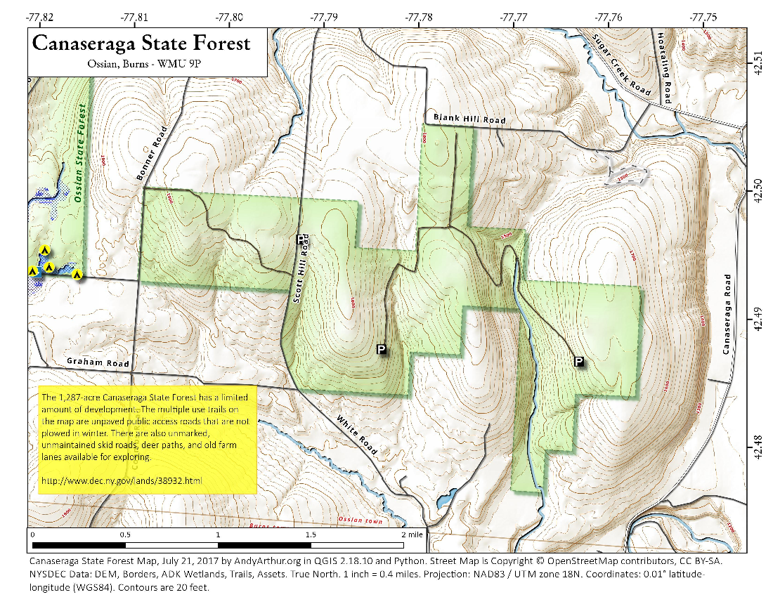 Map: Canaseraga State Forest