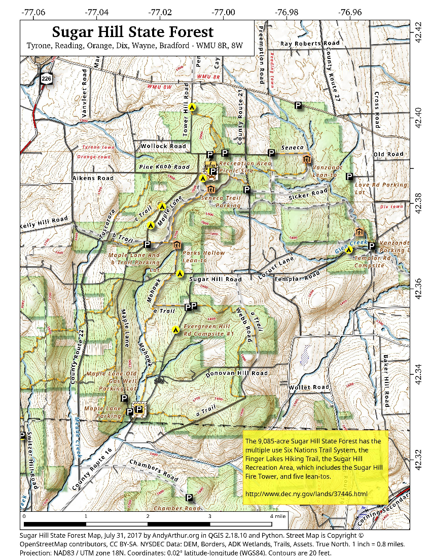 Map: Sugar Hill State Forest