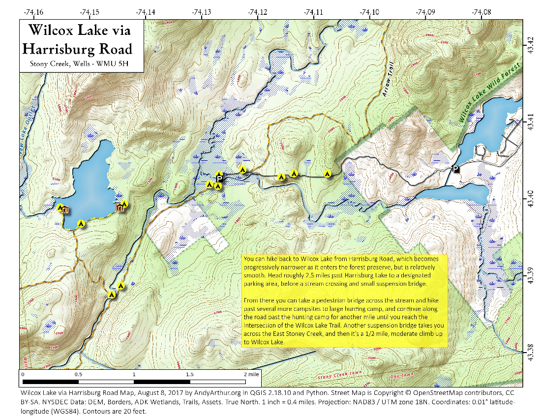 Map: Wilcox Lake Via Harrisburg Road