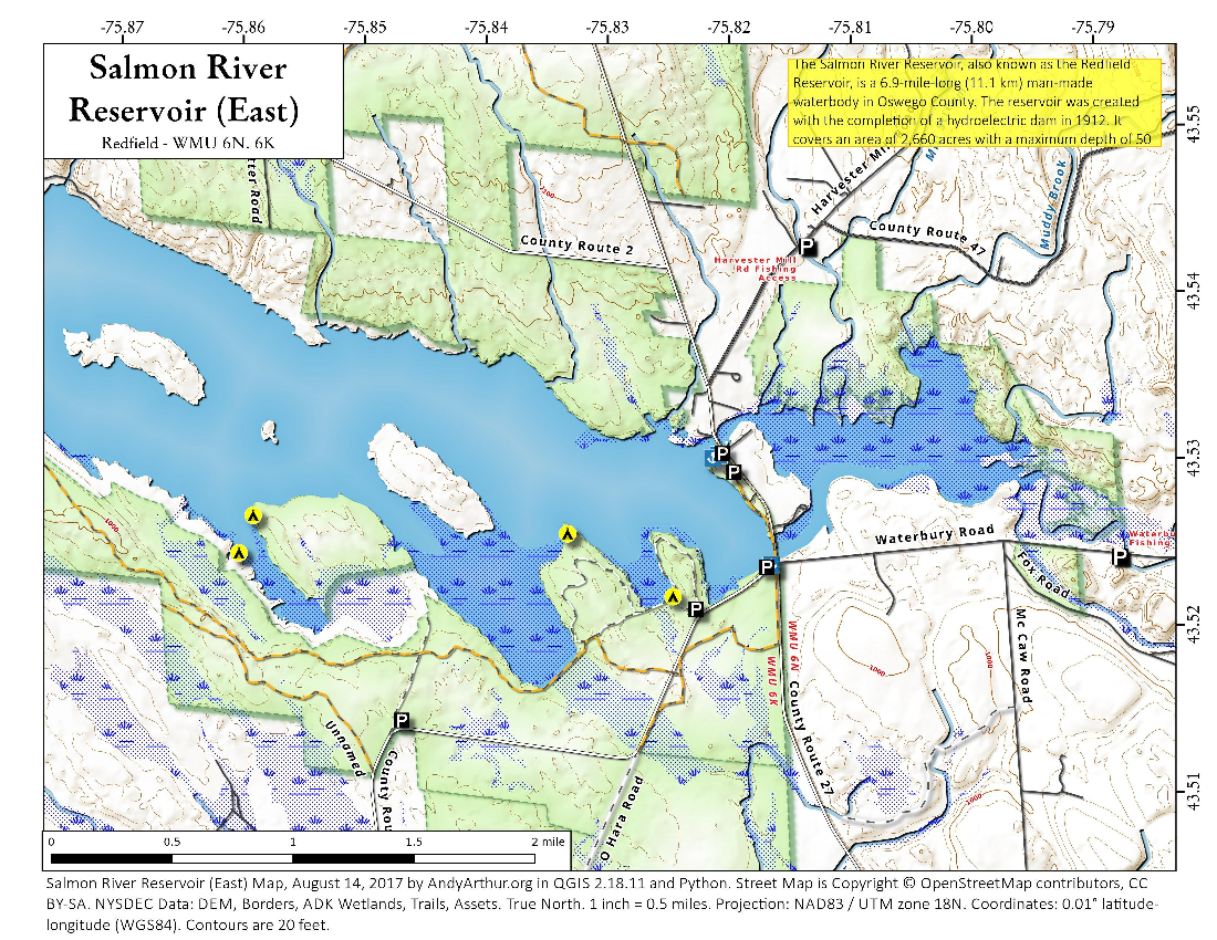 Map: Salmon River Reservoir (East)
