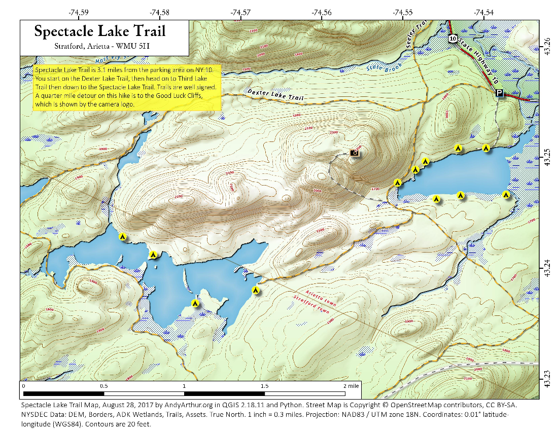 Map: Spectacle Lake Trail