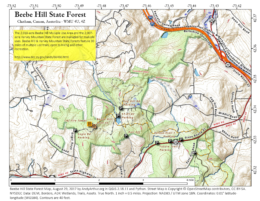 Map: Beebe Hill State Forest