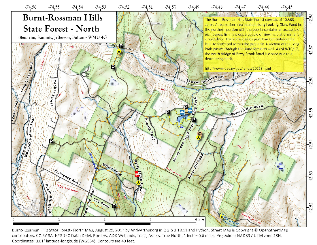 Map: Burnt Rossman Hills State Forest – North