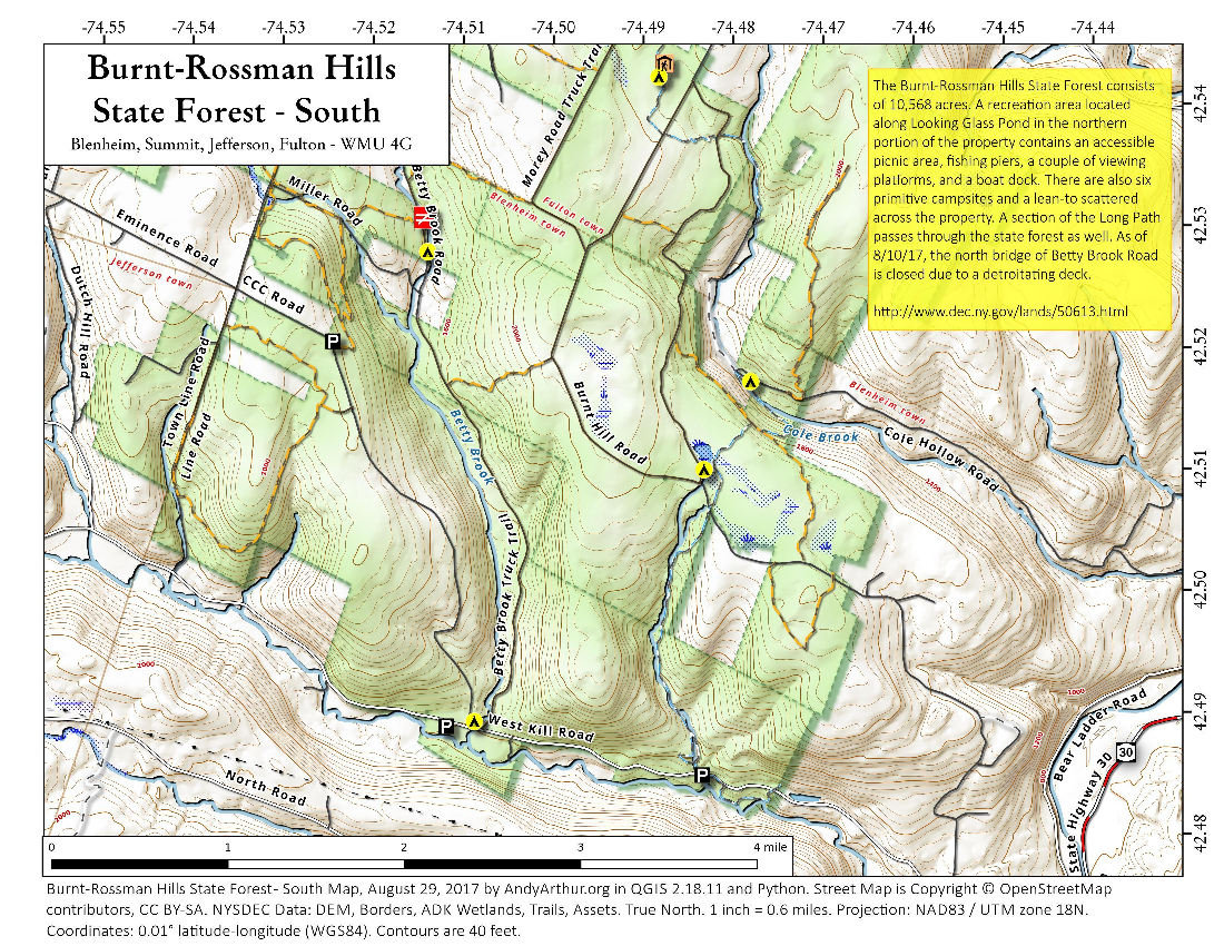 Map: Burnt Rossman Hills State Forest – South