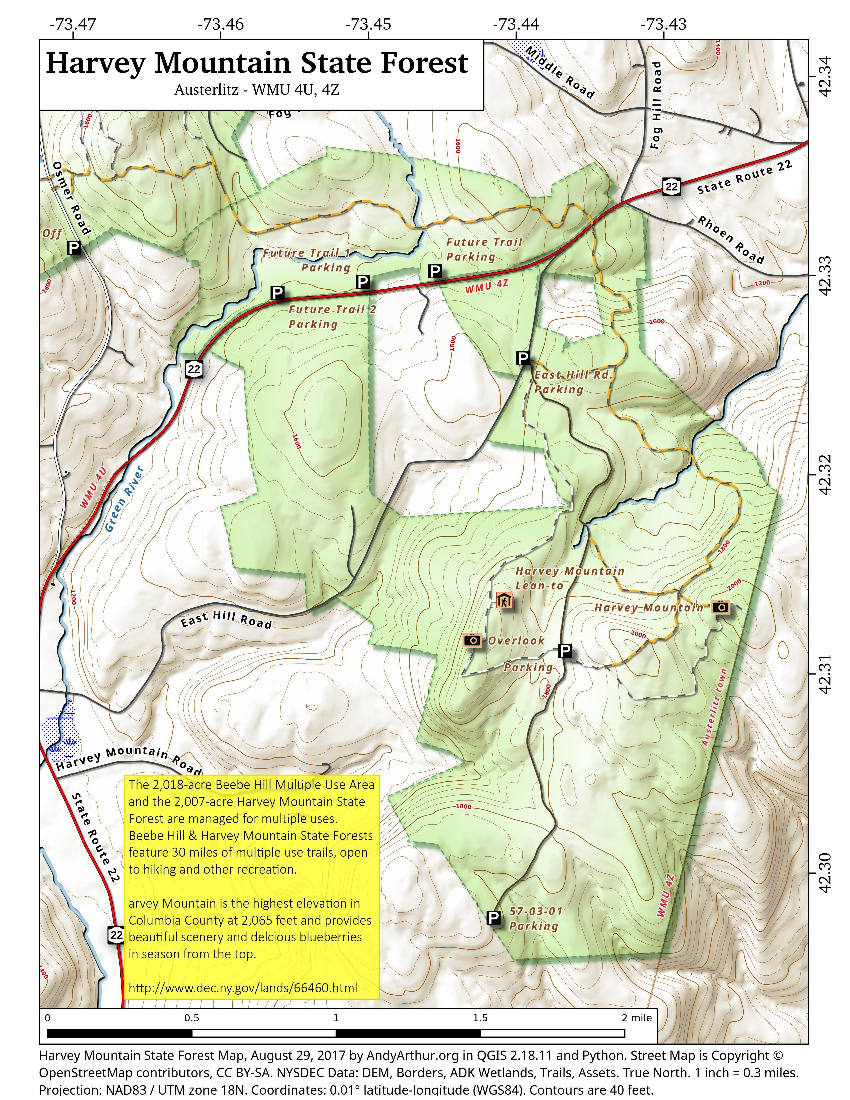 Map: Harvey Mountain State Forest