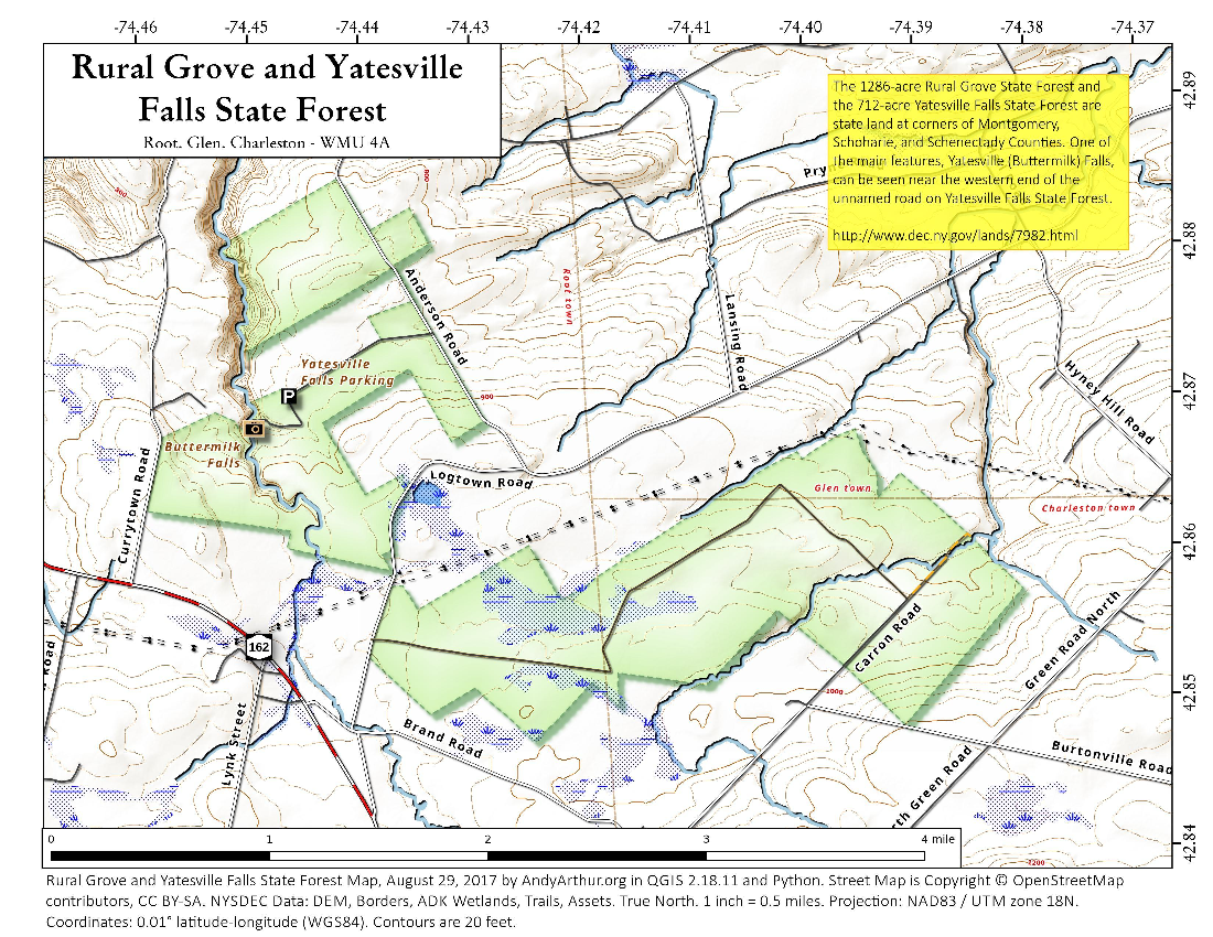 Map: Rural Grove And Yatesville Falls State Forest