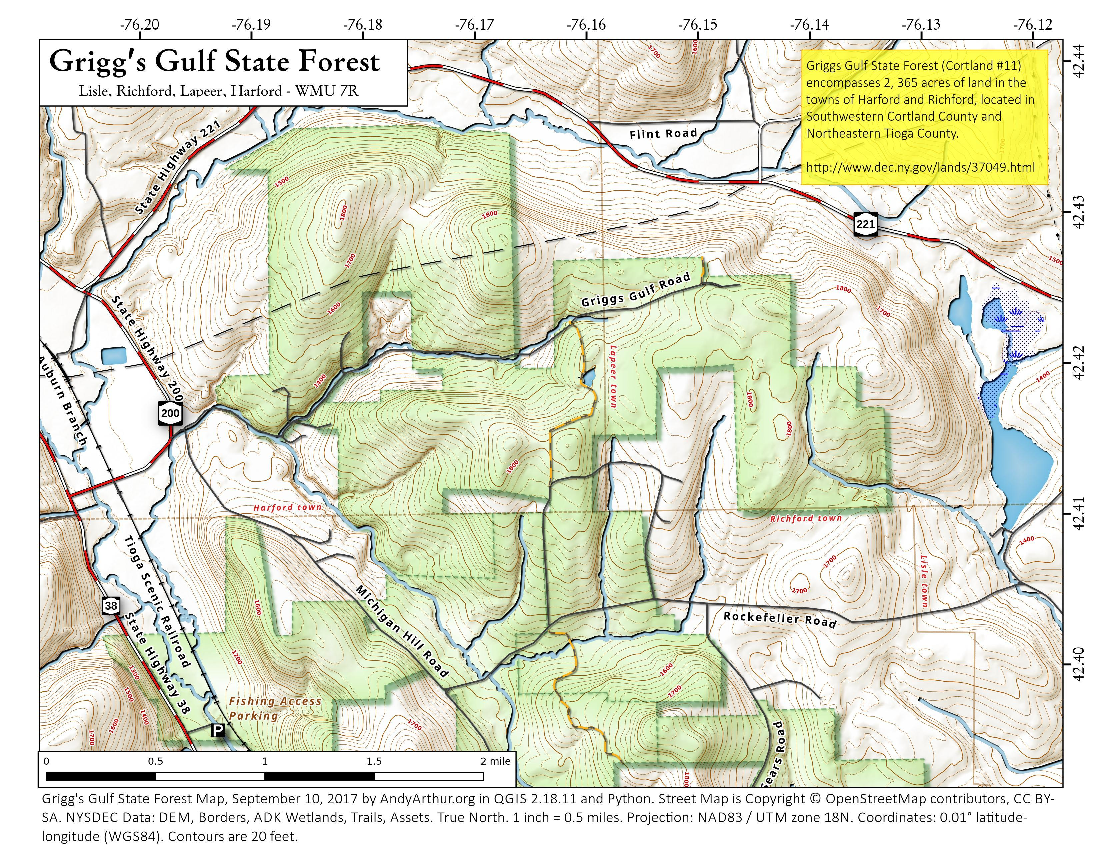 Map: Grigg's Gulf State Forest